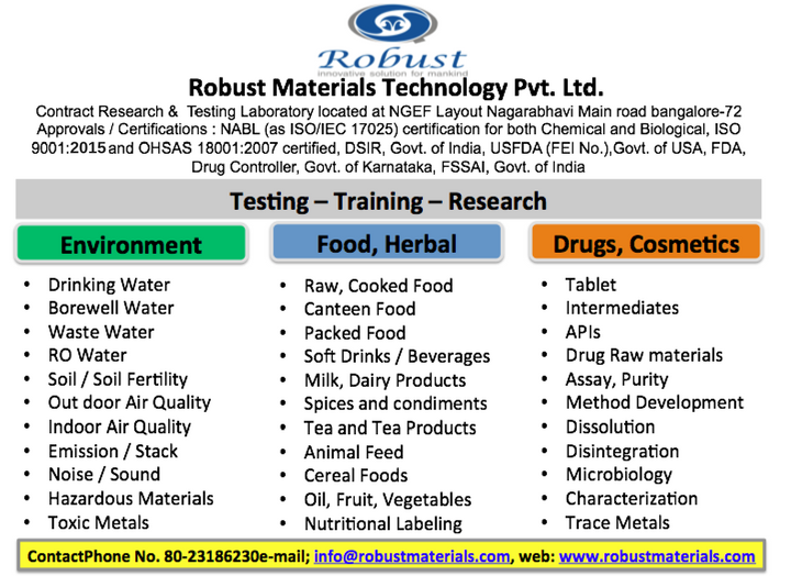 Approved Environmental, Water, Air, soil, Food Testing Laboratory in Bangalore